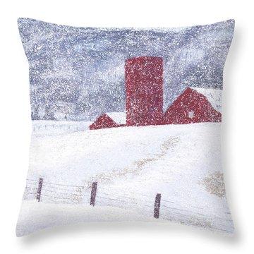 Kansas Snow Storm Throw Pillow by Garry McMichael