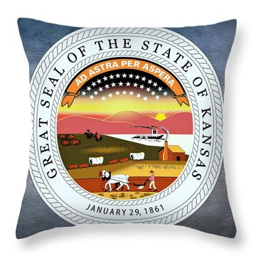 Kansas State Seal Throw Pillow by Movie Poster Prints