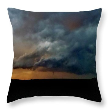 Throw Pillow featuring the photograph Kansas Tornado At Sunset by Ed Sweeney