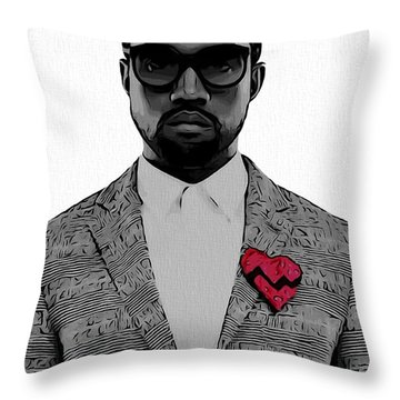 Kanye West  Throw Pillow by Dan Sproul