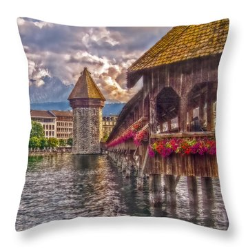 Throw Pillow featuring the photograph Kapellbruecke by Hanny Heim