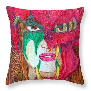 Kara's Battle Helm Throw Pillow by Justin Moore
