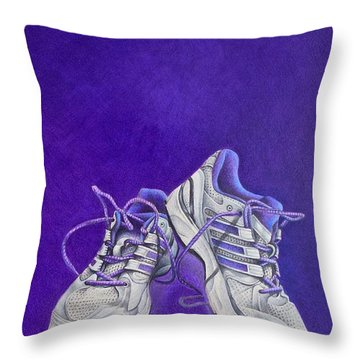 Throw Pillow featuring the painting Karen's Shoes by Pamela Clements