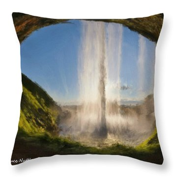 Throw Pillow featuring the painting Karen's Waterfalls by Bruce Nutting