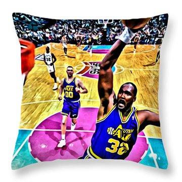 Karl Malone Throw Pillow by Florian Rodarte