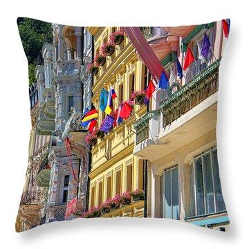 Karlovy Vary Throw Pillow by Mariola Bitner