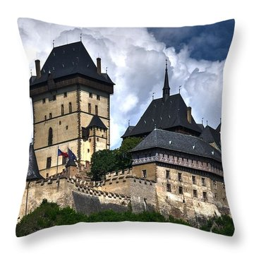 Throw Pillow featuring the photograph Karlstejn Castle In Prague 2 by Joe  Ng