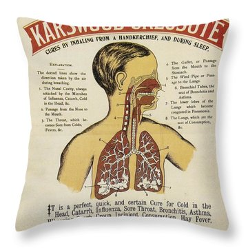 Throw Pillow featuring the photograph Karswood Creosote Medicine Vintage Ad by Gianfranco Weiss