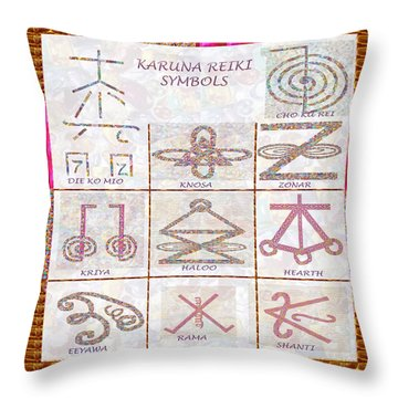 Karuna Reiki Healing Power Symbols Artwork With  Crystal Borders By Master Navinjoshi Throw Pillow