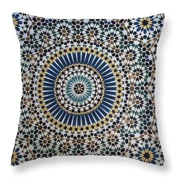 Kasbah Of Thamiel Glaoui Zellij Tilework Detail  Throw Pillow by Moroccan School