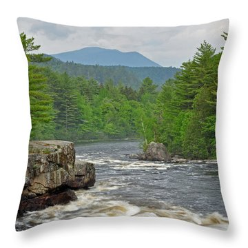 Katahdin And Penobscot River Throw Pillow