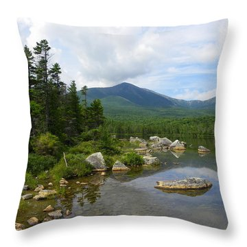 Katahdin And Sandy Stream Pond Throw Pillow