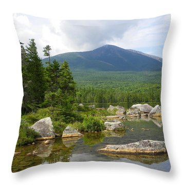 Katahdin Framed At Sandy Stream Pond Throw Pillow