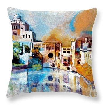 Katas Raj Temple Throw Pillow by Catf