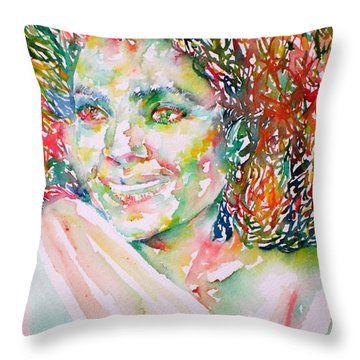 Kathleen Battle - Watercolor Portrait Throw Pillow by Fabrizio Cassetta