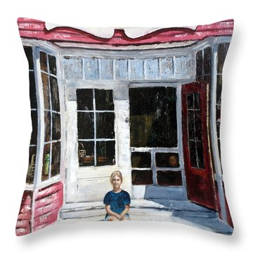 Katie At Bass Harbor Maine Throw Pillow by Lee Piper