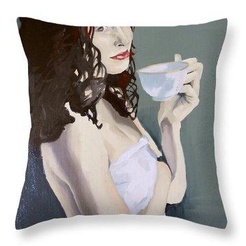 Katie - Morning Cup Of Tea Throw Pillow