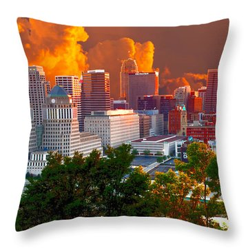 Katrina Storm Hits Cincinnati Throw Pillow by Randall Branham