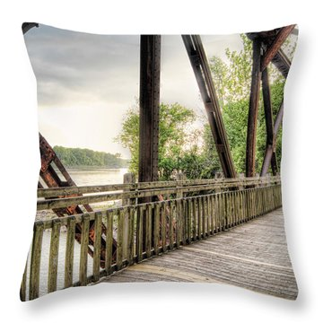 Katy Trail Near Easley Throw Pillow