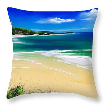 Throw Pillow featuring the digital art Kauai Beach Solitude by Anthony Fishburne