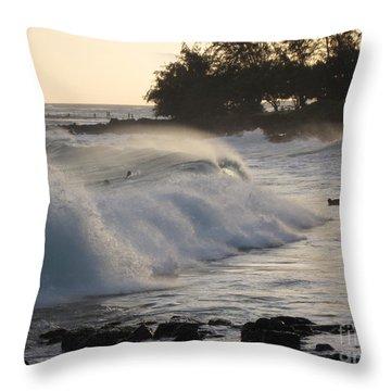 Kauai - Brenecke Beach Surf Throw Pillow