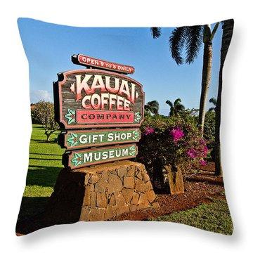 Kauai Coffee Throw Pillow by Scott Pellegrin