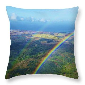 Kauai Double Rainbow Throw Pillow by Kicka Witte