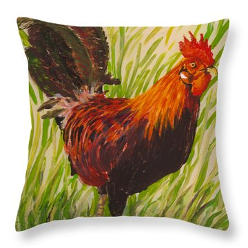 Throw Pillow featuring the painting Kauai Rooster by Anna Skaradzinska