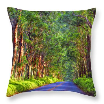 Kauai Tree Tunnel Throw Pillow by Dominic Piperata