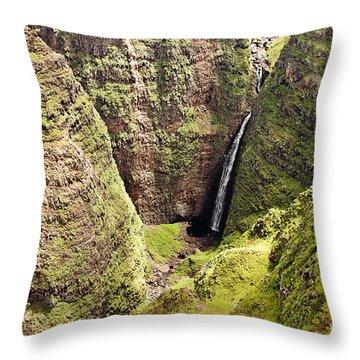 Kauai Waterfall Throw Pillow by Scott Pellegrin