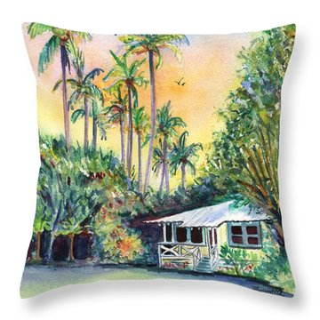 Kauai West Side Cottage Throw Pillow by Marionette Taboniar