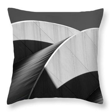 Kauffman Center Curves And Shadows Black And White Throw Pillow