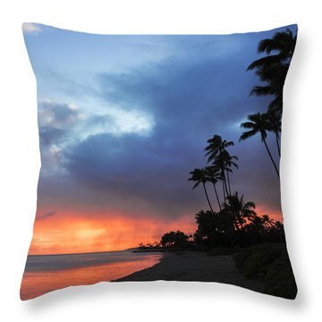 Kawaikui Sunset 2 Throw Pillow by Leigh Anne Meeks