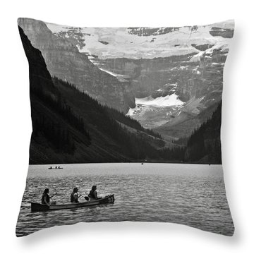 Kayak On Lake Louise Throw Pillow by RicardMN Photography