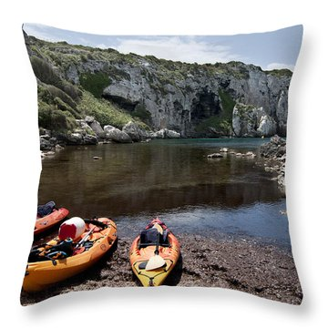 Kayak Time - The Landscape Of Cales Coves Menorca Is A Great Place For Peace And Sport Throw Pillow by Pedro Cardona Llambias