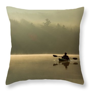 Kayaking At Sunup Throw Pillow