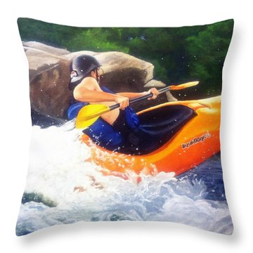 Kayaking Fun Throw Pillow by Cireena Katto