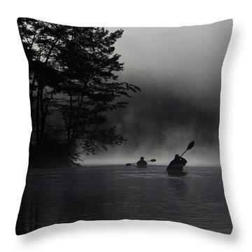 Kayaking In The Fog Throw Pillow