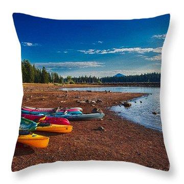 Kayaking On Howard Prairie Lake In Oregon Throw Pillow