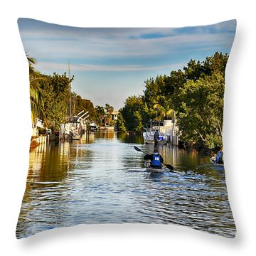 Kayaking The Canals Throw Pillow