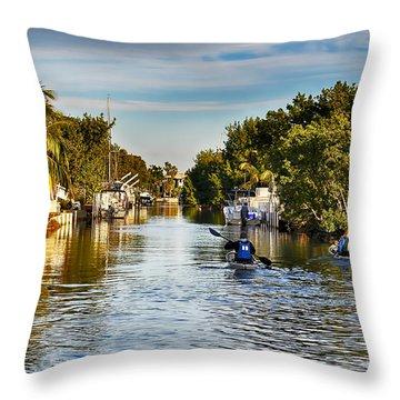 Kayaking The Canals Throw Pillow