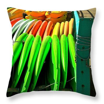 Kayaks And Paddleboards Throw Pillow