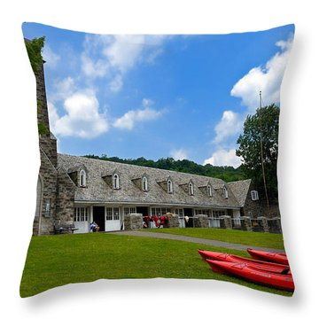 Kayaks At Boat House Throw Pillow by Amy Cicconi