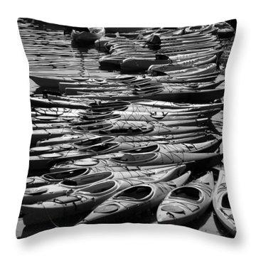 Kayaks At Rockport Black And White Throw Pillow