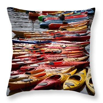 Kayaks At Rockport Throw Pillow