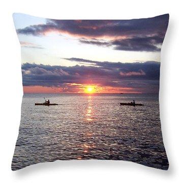 Kayaks At Sunset Throw Pillow