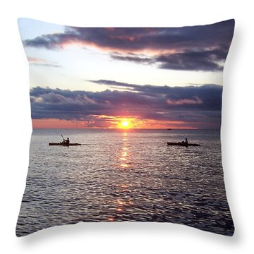 Kayaks At Sunset Throw Pillow