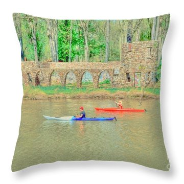 Kayaks Throw Pillow by Kathleen Struckle