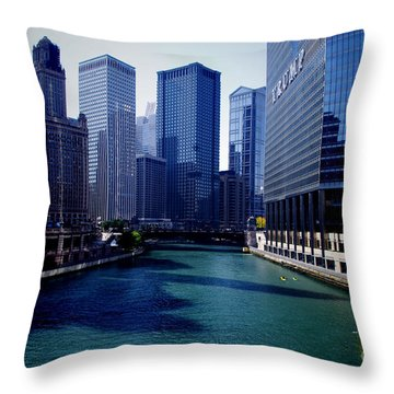 Kayaks On The Chicago River Throw Pillow