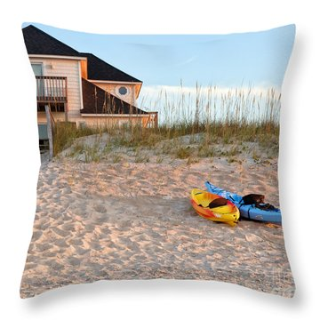 Kayaks Rest On Sand Dune In Morning Sun. Throw Pillow
